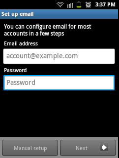 Alamat email dan password