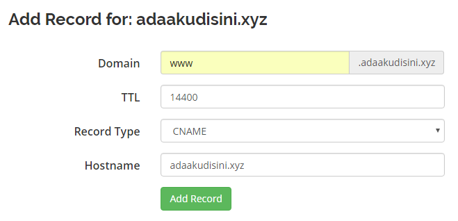 add new record - setting dns ke vps 2