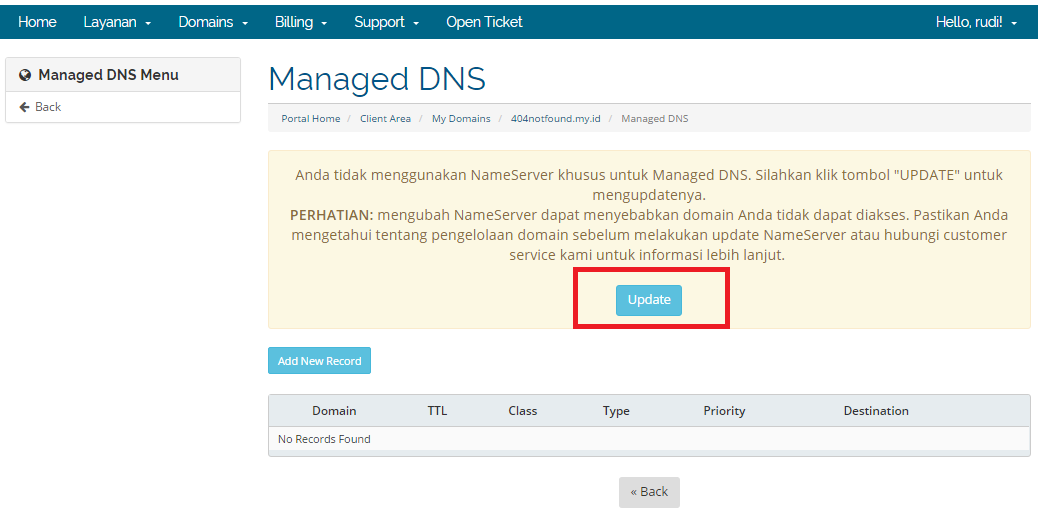 klik update di managed dns