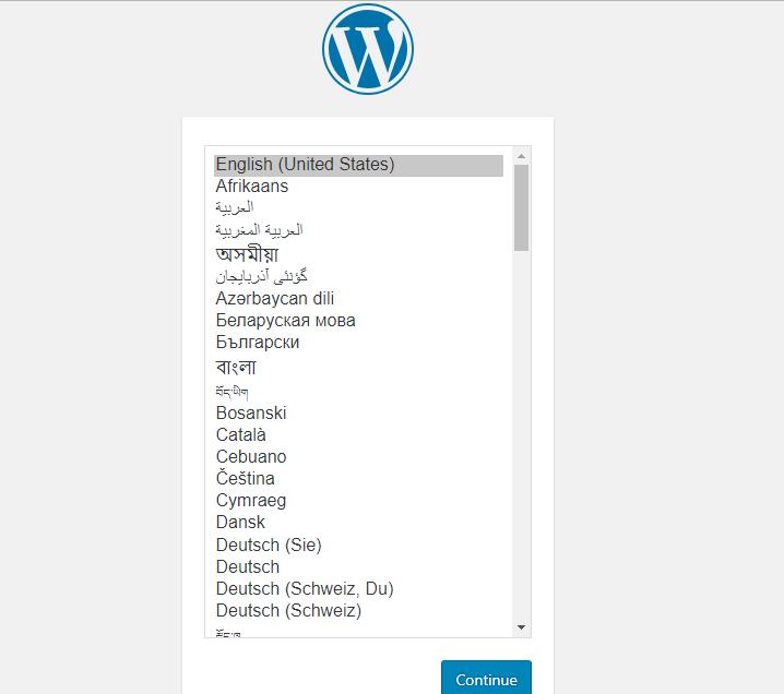 memilih bahasa di wordpress