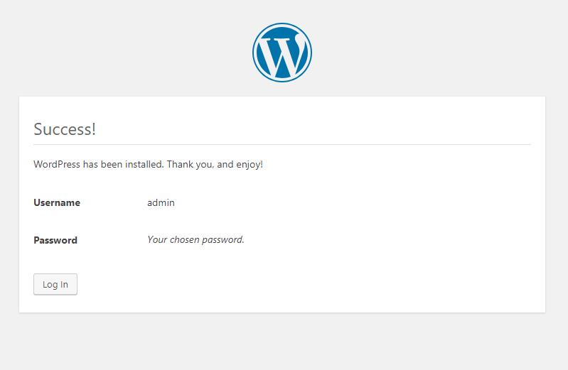 instalasi wordpress di localhost telah sukses