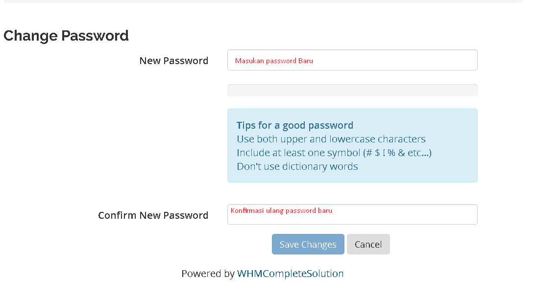 Reset Password WordPress Hosting Rumahweb Step 4