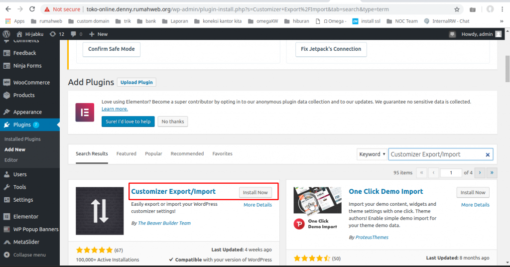 plugin customizer - Cara Export dan Import Setting Theme WordPress