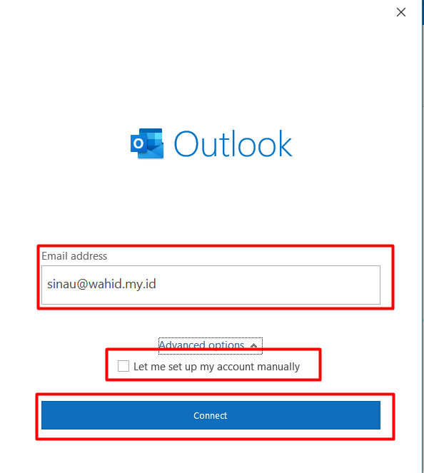 Setting POP3 Microsoft Outlook 2019 -  Email address