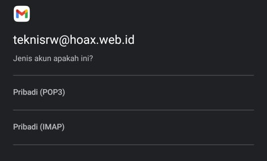 Cara Setting Email Alimail Pada Handphone Pilih IMAP