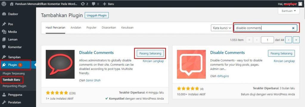 Cara Menonaktifkan Komentar Pada WordPress - dengan plugin 1